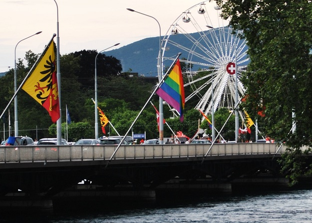 A LGBT flag in Geneva, Switzerland, during a Pride Week. / Unsplash, CC0,