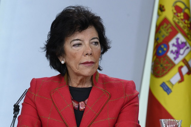 Isabel Celáa, Spanish Minister of  Education, in the press conference that started the controversy. / Flickr La Moncloa, CC,