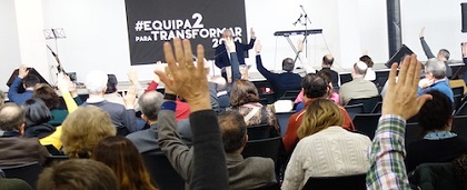 Spanish Evangelical Alliance members voting in the 2020 General Assembly. / J. Forster