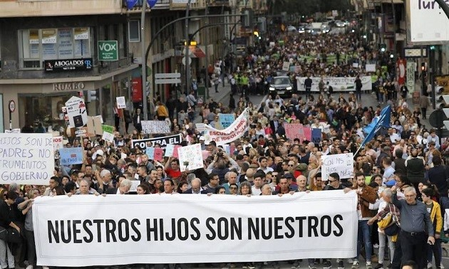 Image of the march of parents in Murcia, on 29 February. / Photo: CEMU, Evangelical Council Murcia,