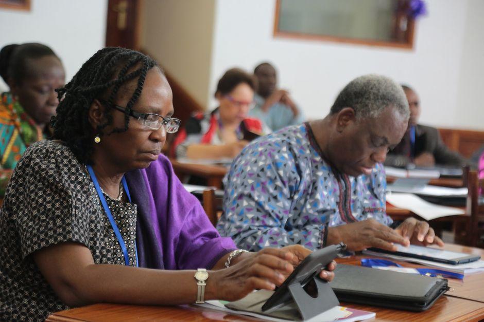 Canon Bayo and Dr. Naomi Famonure at AEA's Governing council meeting in Nairobi, Kenya. / AEA.,