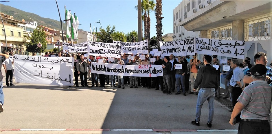 Algerian Christians demonstrate demanding religious freedom, in October 2019. / Image sent to EF by sources on the ground.,