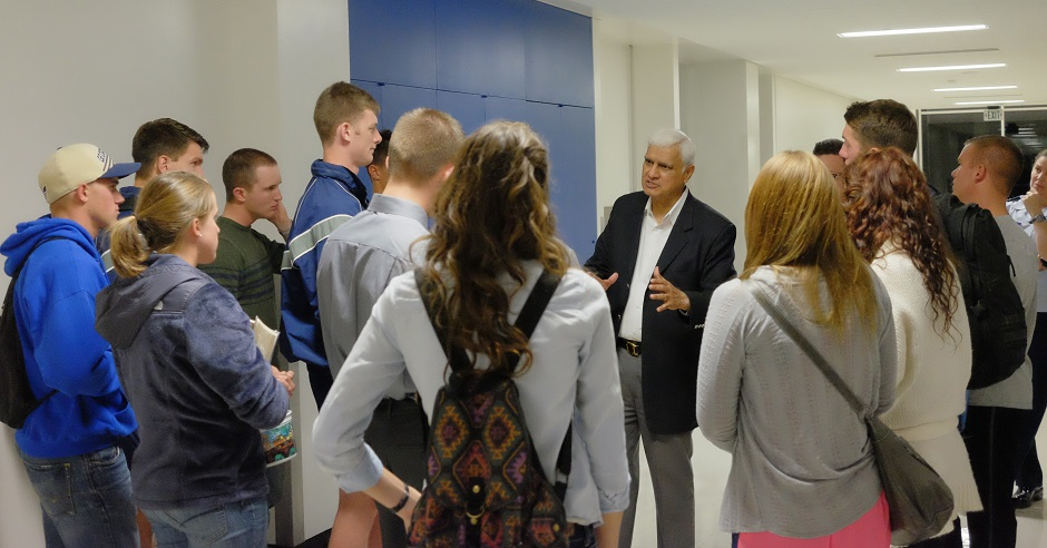 """U.S. Air Force Academy, Colorado Springs, Colo., 2014: Ravi Zacharias was known for always being focused on the questioner, not simply the question. / Photo: <a target=""""_blank"""" href=""""https://www.rzim.org"""">RZIM</a>,"""
