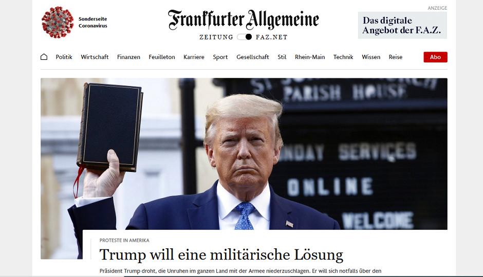 "The main picture of the Frankfurter Allgemeine Zeitug (Germany) on 2 June. / Screenshot <a target=""_blank"" href=""https://www.faz.net/aktuell/"">FAZ</a>,"