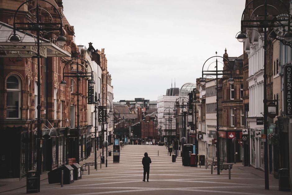 "An empty street  during the lockdown in Leeds, the UK. / <a target=""_blank"" href=""https://unsplash.com/@garybpt"">Gary Butterfield</a>, Unsplash (CC0).,"