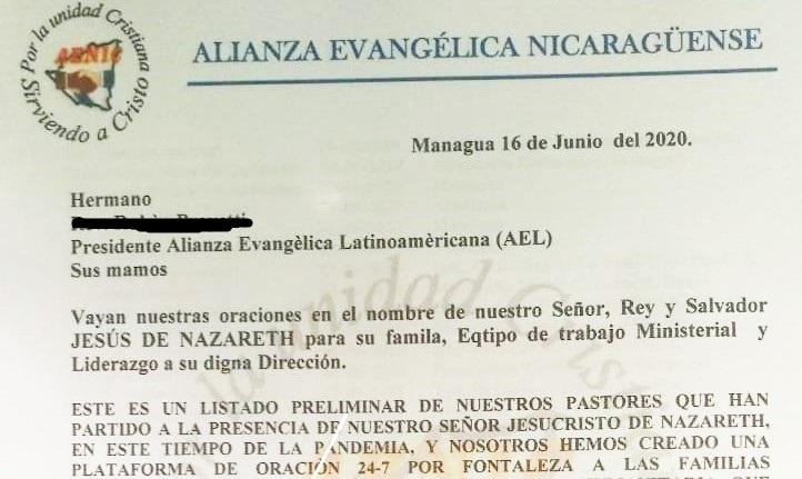 Detalhe da carta da Aliança Evangélica da Nicarágua relatando a morte de 44 pastores evangélicos entre maio e junho de 2020. / ED