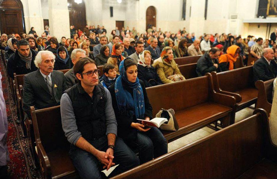 "Iranian Christians in a worship service. / Photo: <a target=""_blank"" href=""https://www.facebook.com/IranFocus/"">Iran Focus Facebook</a>,"