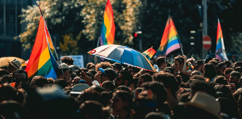 "An LGBTQ Pride demonstration. / Photo: <a target=""_blank"" href=""https://unsplash.com/@themick79i"">Mick De Paola</a>,"
