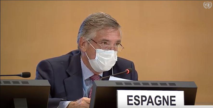 "The ambassador and Permanent Representative of Spain to the UNOG, Cristóbal González Aller-Jurado. / Capture video <a target=""_blank"" href=""https://www.youtube.com/channel/UCbuzenUJ3eGr1o_7oefZDTA"">WEA Youtube</a>,"