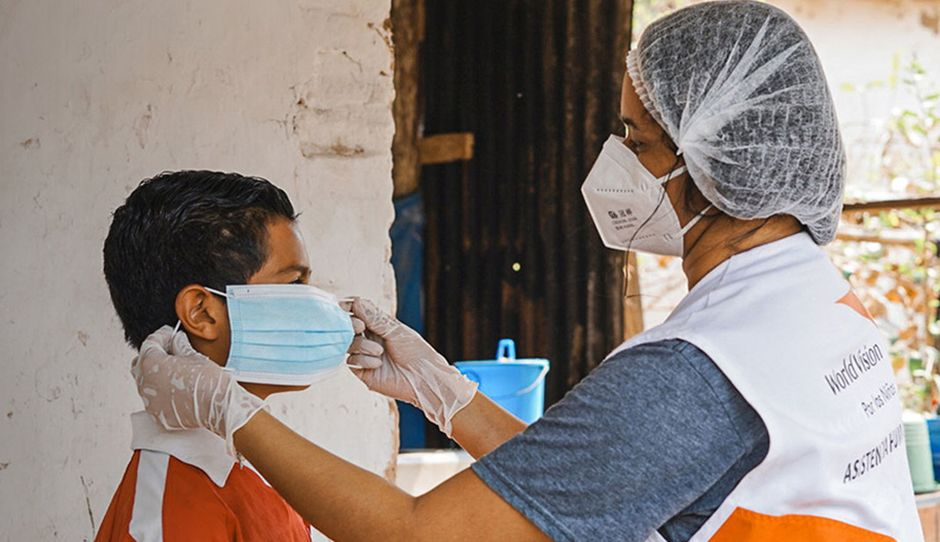 """Coronavirus has specially hit children. / <a target=""""_blank"""" href=""""https://www.worldvision.org/"""">World Vision</a>,"""