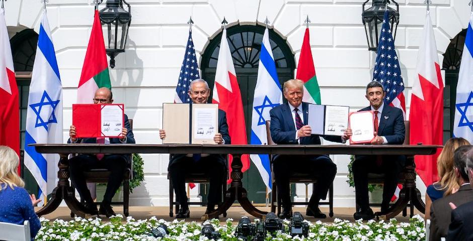 The signing of the Abraham Accords took place in the White House. /White House,