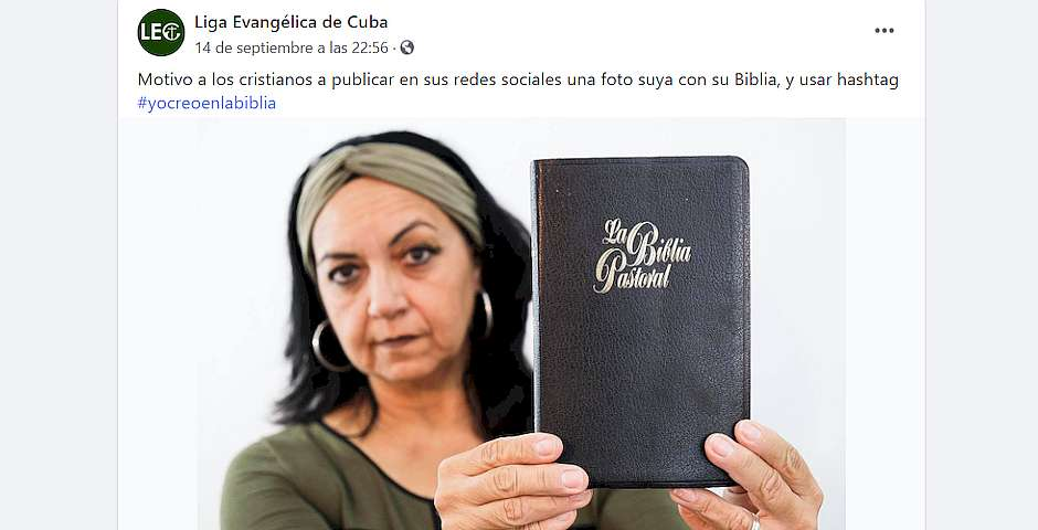 Pastor Álida León's post using the #IBelieveInTheBible hashtag. /  Álida León Facebook.,