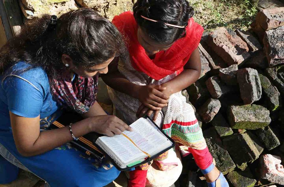"Indian Christian women in a Bible study. / <a target=""_blank"" href=""https://www.opendoorsusa.org/"">Open Doors USA</a>,"