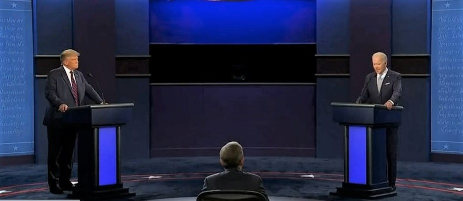 """An image of the first US 2020 presidential debate. / <a target=""""_blank"""" href=""""https://www.facebook.com/pg/NPR/about/?ref=page_internal"""">Facebook NPR</a>,"""