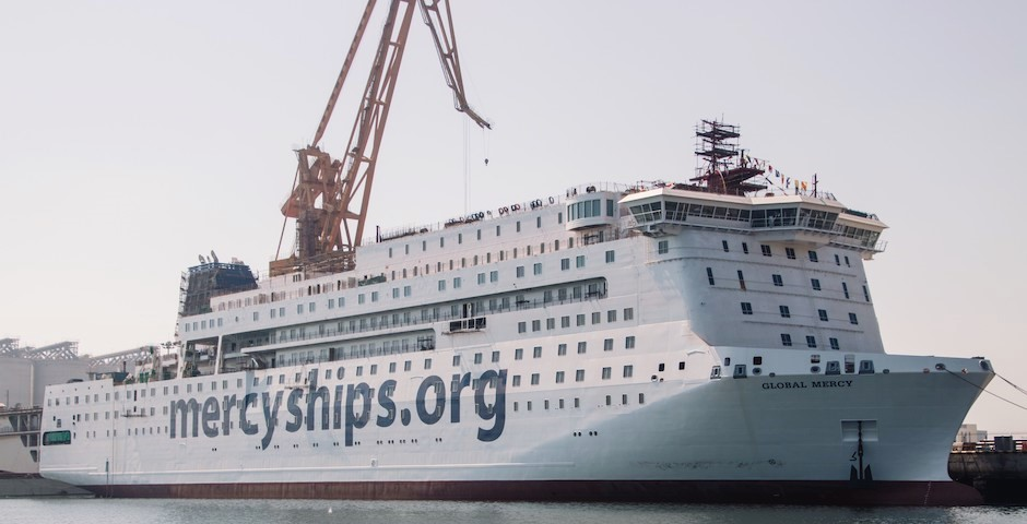 "The 'Global Mercy', in its final stage of construction. / Photo: <a target=""_blank"" href=""https://www.mercyships.es/"">Mercy Ships</a>,"