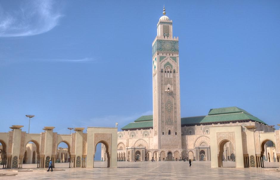 """Hassan II Mosque, Casablanca, Morocco. /  <a target=""""_blank"""" href=""""https://unsplash.com/@hansjuergen"""">Hans-Jürgen Weinhardt</a>, Unsplash CC0.,"""
