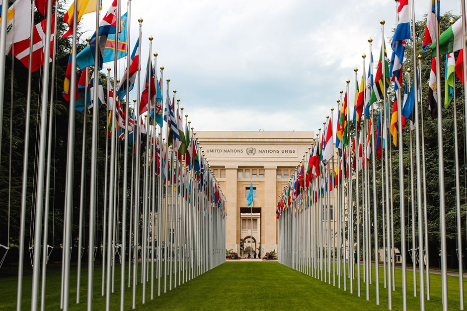 "United Nations headquaters in Geneva. /  <a target=""_blank"" href=""https://unsplash.com/@matreding"">Mat Reding</a>, Unsplash CC0.,"