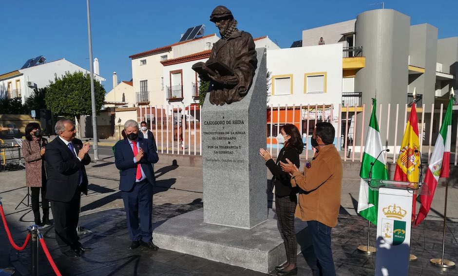 Inauguration of the statue to Casiodoro de Reina, 29th October 2020, Santiponce, Spain. / Photo: Junta de Andalucía,