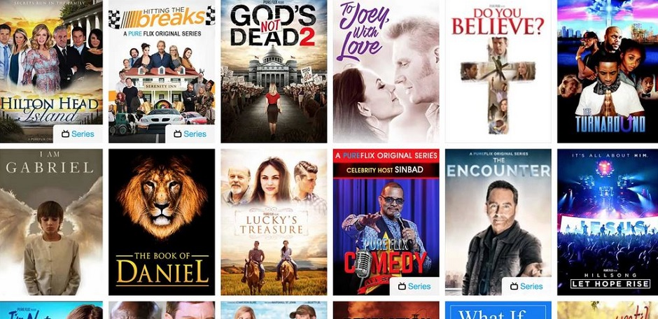 Some films on offer on Pure Flix. ,