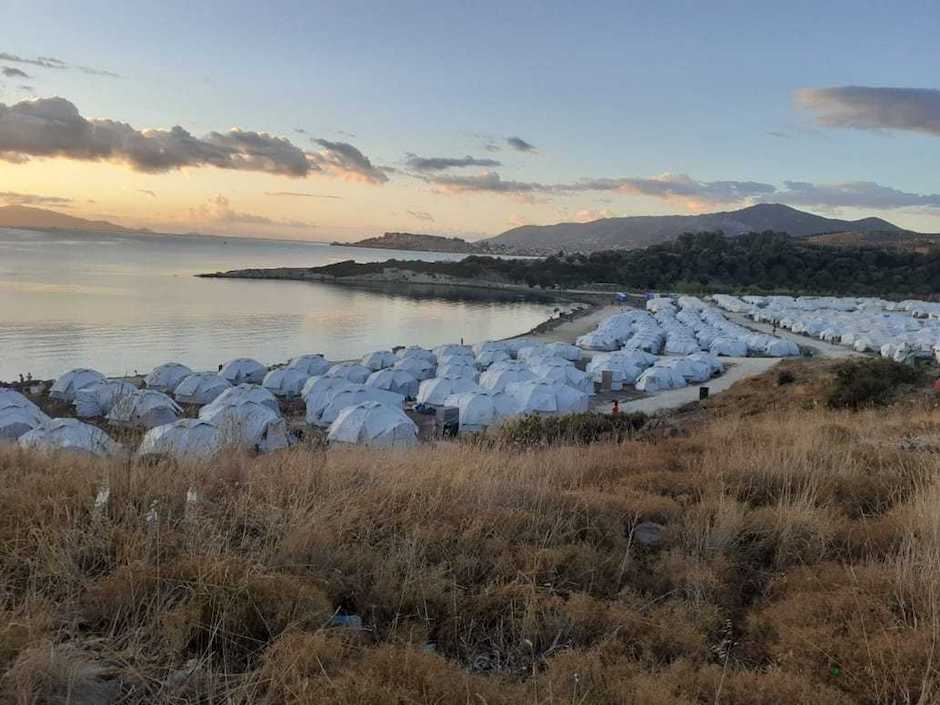 Panoramic image of the new Moria camp in Lesbos, Greece. / Remar.,