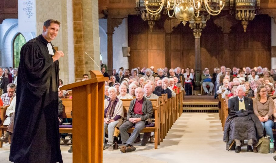 "Pastor Olaf Latzel speaking at the St. Martini Church in Bremen. / Photo: <a target=""_blank"" href=""https://www.facebook.com/martinibremen/"">Facebook St. Martini Church</a>,"