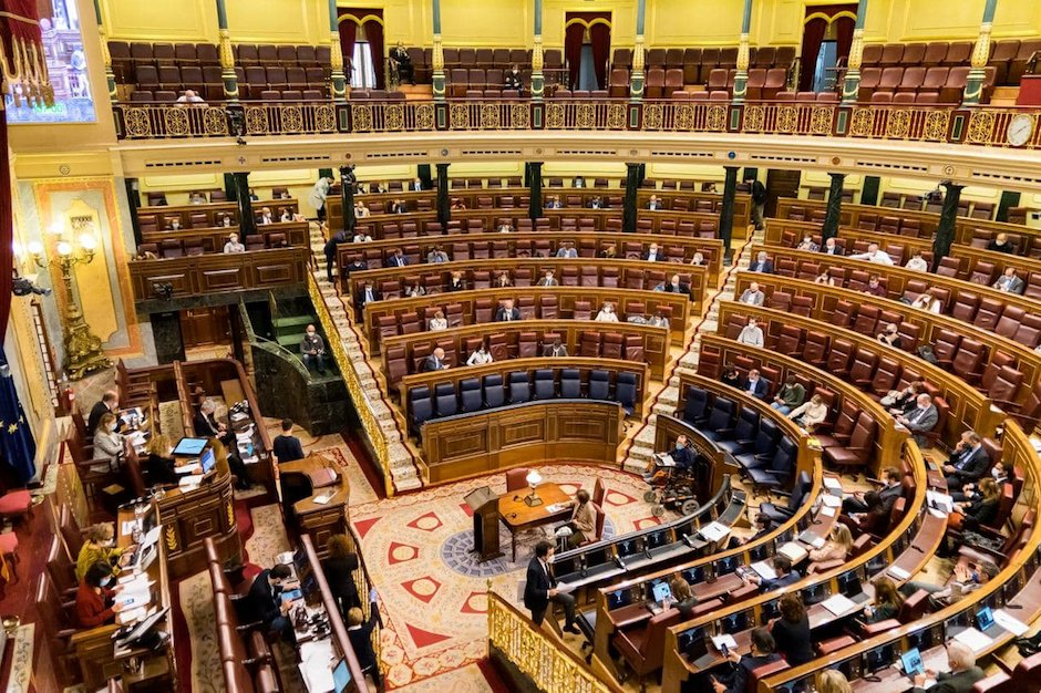 The Spanish Parliament during the session when the euthanasia law was approved . / Twitter @Congreso_Es,