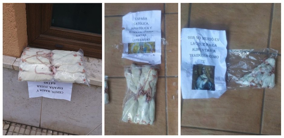 The messages printed on papers and three bags with dead rats found in the Nueva Vida evangelical church in Santander, on 25 December 2020. / Nueva Vida,
