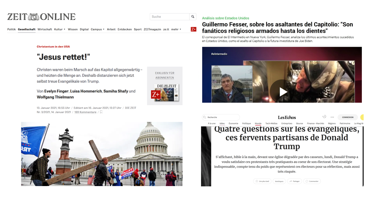 Headlines of media articles in Germany, Spain and France, addressing the connections between evangelical Christians and President Trump. / Zeit, La Sexta, The Echoes,