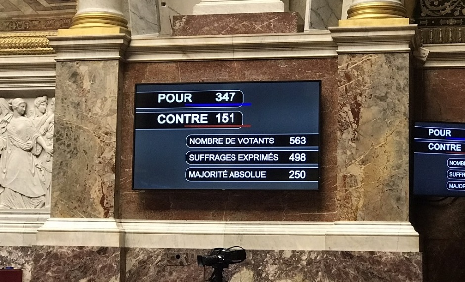 The end result of the vote of the so-called anti-separatism law in the French Assembly on 16 February 2021. / Image via Facebook CNEF,