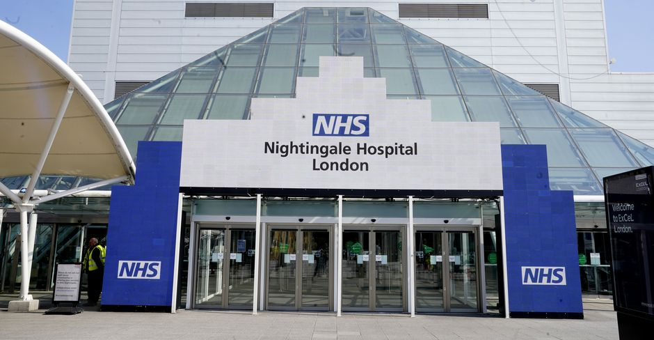 """The Nightingale Hospital in London was the first of the temporary hospitals set up by NHS England for the COVID-19 pandemic. / <a target=""""_blank"""" href=""""https://www.flickr.com/photos/number10gov/with/49707401326/"""">Flickr Number 10</a>, CC,"""