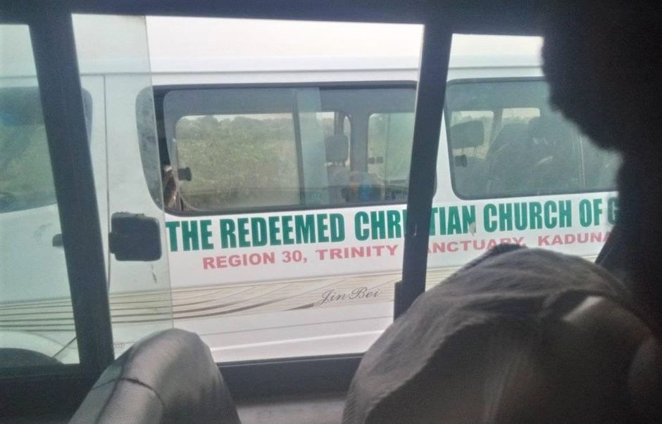"Traveler took photo of abducted Christians' abandoned bus on Kachia-Kafanchan highway. / <a target=""_blank"" href=""https://morningstarnews.org/"">Morning Star News</a>.,"