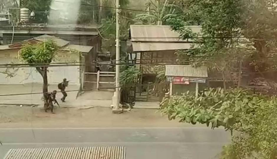 """Military personnel on the streets of Rangoon, where violence has escalated following the coup. / <a target=""""_blank"""" href=""""https://www.opendoorsuk.org/"""">Open Doors UK</a>,"""