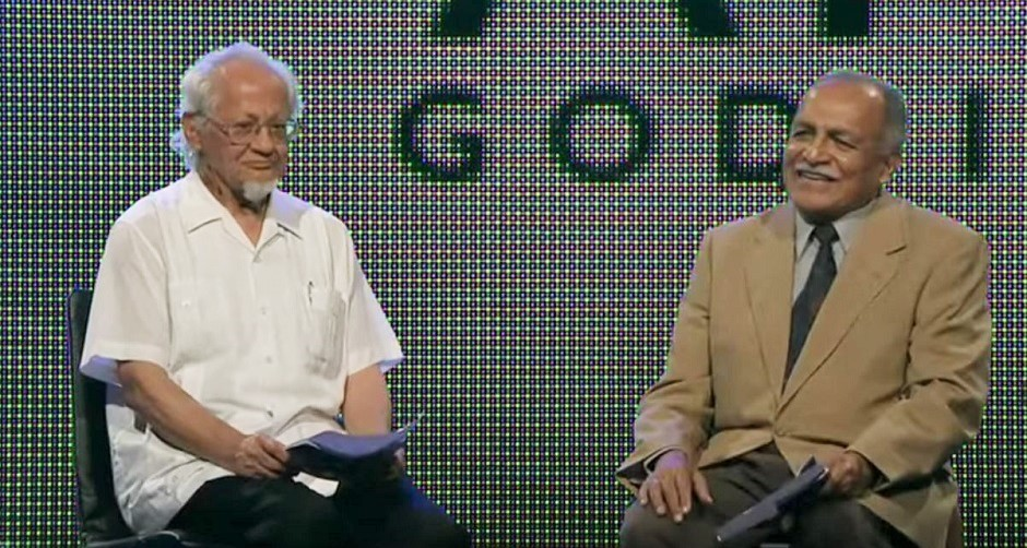 """C. René Padilla (left) and Samuel Escobar (right), speaking at one of the plenary sessions of the 2010 Lausanne Movement Cape Town congress. / Photo: snapshot video <a target=""""_blank"""" href=""""lausanne.org/"""">Lausanne Movement</a>.,"""