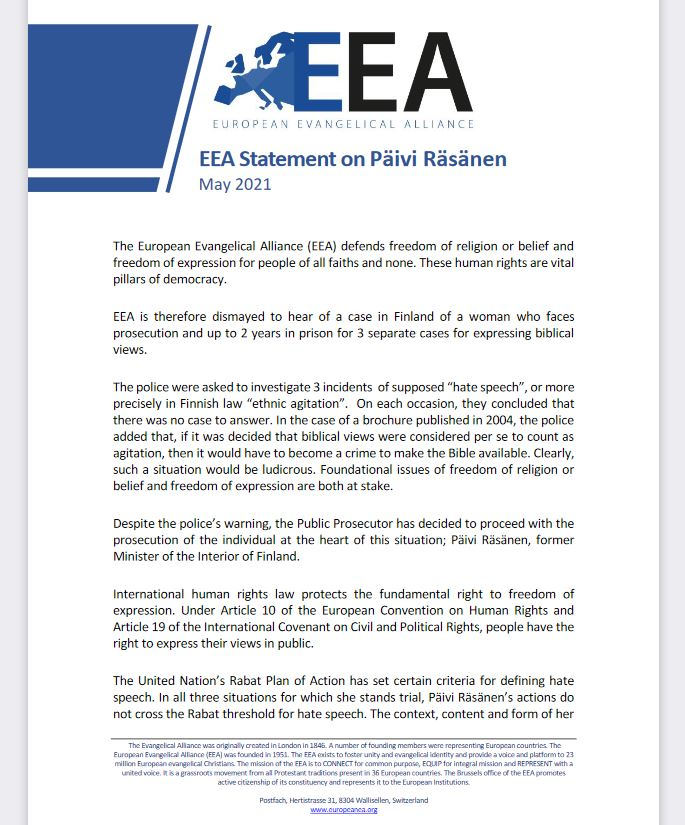 "European Evangelical Alliance sends letter to Finnish government expressing ""dismay"" over Päivi Räsänen case"