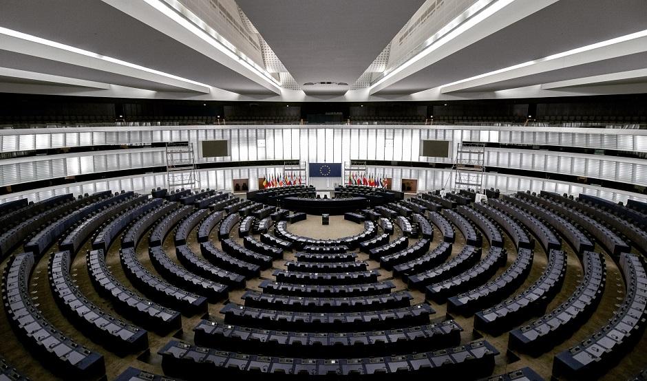"A view of the European Parliament plenary hall in Brussels. / Photo: <a target=""_blank"" href=""https://unsplash.com/@internetztube"">Frederix Köberl</a>, Unsplash, CC0,"