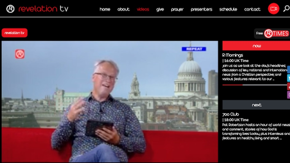 An image of the online broadcasting website of Revelation TV. ,