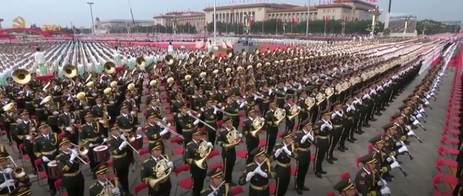 """100th anniversary celebrations in the Tiananmen Square of Beijing. / Image: video capture <a target=""""_blank"""" href=""""https://www.bbc.com/news"""">BBC</a>,"""