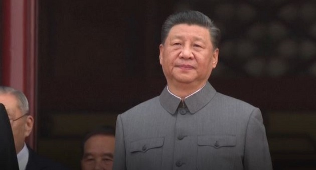 Chinese President Xi Jinping, addressing the crowd. / Image: video capture BBC
