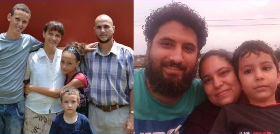 Yéremi Blanco (left) and Yarián Sierra (right), with their families. Both are being held by the Cuban authorities.,