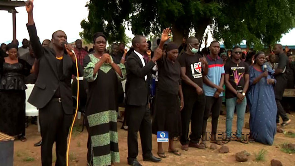 Parents of the abducted Bethel Baptist School students gathered to pray for their release. / Channels TV, screenshot from Youtube.,