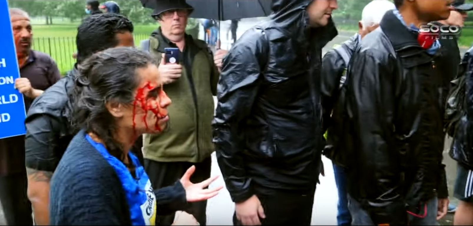 "The Christian speaker Hatun Tash after being attacked on 25 July. / Video: Soco Films via <a target=""_blank"" href=""https://www.youtube.com/channel/UC-wOxG8p_Nk5nFkSxZOxq6w"">Pfander films</a>.,"