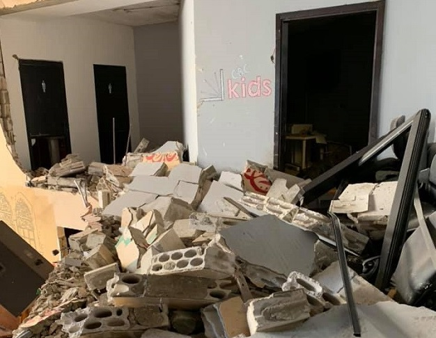 The kids room of the church after the 2020 port blast.